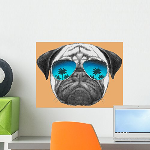 Hand Drawn Portrait Pug Wall Mural by Wallmonkeys Peel and Stick Graphic (18 in H x 18 in W) - Prices Sunglasses Pugs