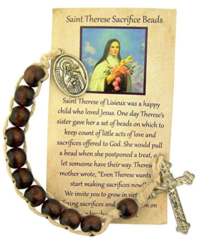 Saint Therese Wooden Sacrifice Beads One Decade Rosary, 10 Inch