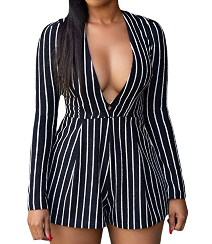 Huusa Sexy Womens Stripes Long sleeve Pl - Black Clubwear Outfit Shopping Results