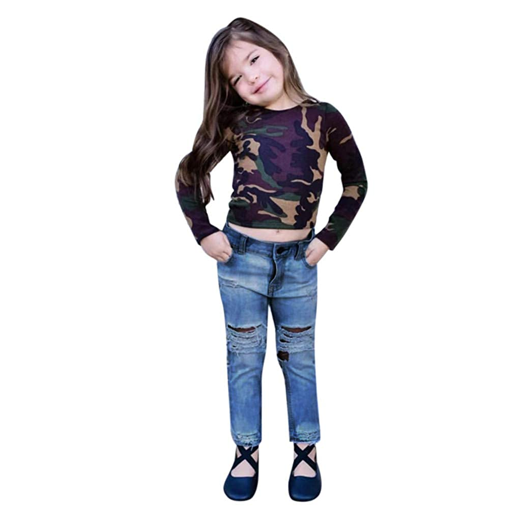 SUNBIBE 2-7 Years Old Kids Baby Girls Clothes Fashion Camouflage Long Sleeve Top Denim Jeans