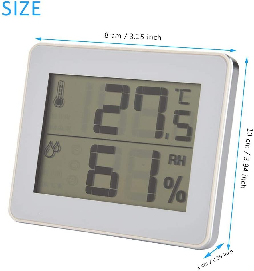 Black Tosuny Digital Hygrothermograph Indoor Thermometer Room Humidity Humidometer LCD Display
