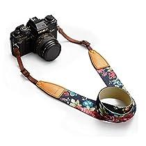 BESTTRENDY Universal Camera Neck Shoulder Strap, Casual Vintage Neck Shoulder Camera Belt for All DSLR Camera Nikon / Canon / Sony / Olympus / Samsung / Pentax ETC /Olympus (Blue+Flower)