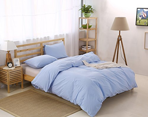 Colourful Snail 100-Percent Natural Washed Cotton Duvet Cover Set, Ultra Soft and Easy Care, Fade Resistant, Queen/Full, Light Blue (Light Blue Bedding)