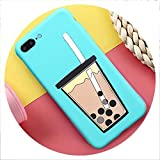 Cartoon 3D Milk Tea Funny Case for Samsung Galaxy A10 A20 A30 A40S A50 A60 A70 A80 M10 M20 M30 Silicon Drink Cup TPU Phone Cover,A2 Core,PearlCup Blue -  disiren