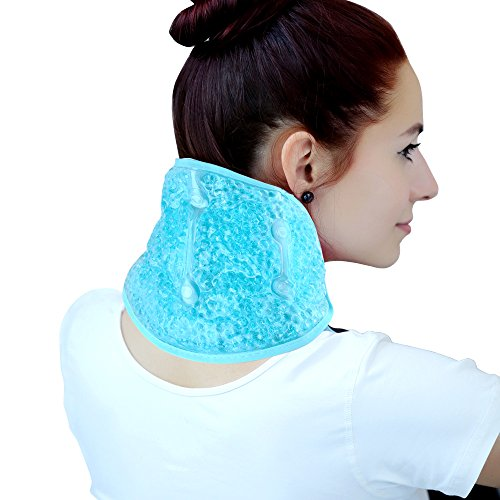 ice Pack for Neck Shoulder,Hot/Cold Therapy Wrap with Gel Beads for Shoulder Neck Pain Relief, Flexible Reusable Pad Cooler Non Toxic wrap for Swelling,Bruises,Sprains,Inflammation