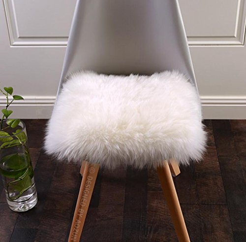 Wool Chair Pads - MRealGal Square Sheepskin Seat Cushion,100% Natural Australian Lambskin Car Seat Cover,Luxurious Soft Fur Chair Pads (16x16 Inch, White)