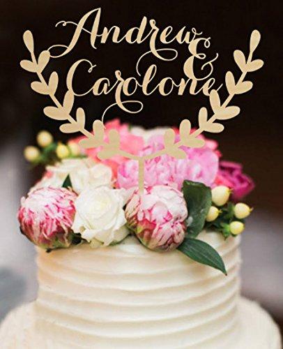 Amazon personalized wedding cake toppers rustic bride and groom personalized wedding cake toppers rustic bride and groom name with olive branch wood for wedding decorations junglespirit Choice Image