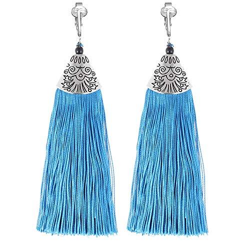 Clip Earring Shop-Clip On Tassel Earrings-Dangle Clip On Earrings Silk Tassel Long Clip Earrings Bohemian (Teal ()