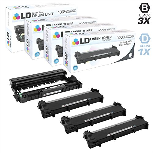 LD Compatible Dell 593-BBK Set of 4 Combo Pack: 3 593-BBKD High Yield Black Toners and 1 593-BBKED Drum Unit for Dell Printers- Laser- E310dw, E514dw | Multi-Function- E515dn, (Multifunction Unit)