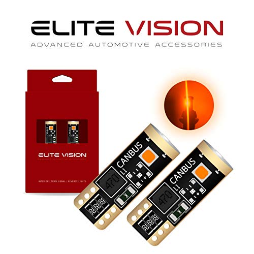 Elite Vision 194 168 T10 192 2825 W5W Titanium Series LED Non-Polarity 400LM Bright for Dome Map Courtesy Door License Plate Cargo Interior Lights (Pack of 2) (Amber)