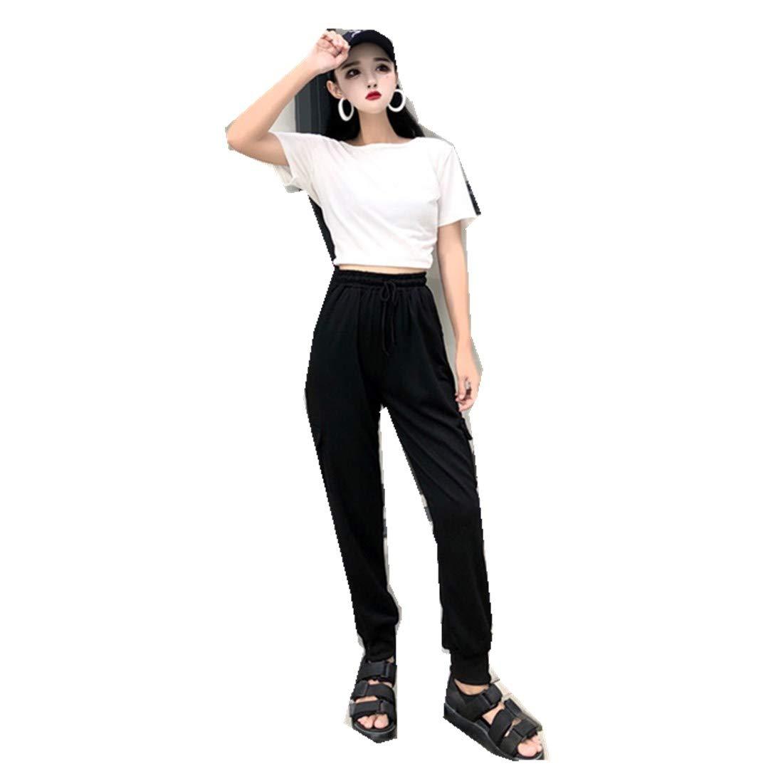 MV Open Back Navel Short-Sleeved T-Shirt + High Waist Casual Feet Loose Trousers