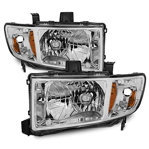 For Honda Ridgeline OE Replacement Chrome Bezel Headlights Driver/Passenger Head Lamps Pair New