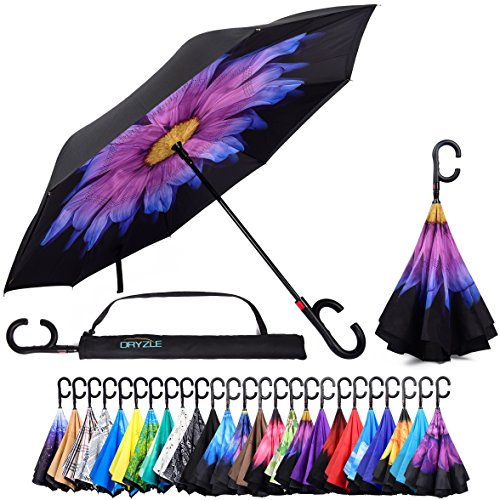 (Reverse Inverted Inside Out Umbrella - Upside Down UV Sun Protection Windproof Brella That Open Better Than Most Umbrellas, Reversible Folding Double Layer, Suitable for Golf, Car, Women and Men)