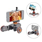 Mcoplus Electric Motorized 3-Wheel Video Pulley Car Dolly Rolling Slider Skater Track for Canon Nikon Sony Camera Camcorder for iPhone 7/7plus/6/6s Samsung Huawei Smartphone