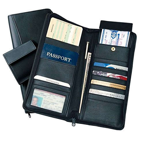 ROYCE Executive Zippered Travel Document Passport Case and Credit Card Wallet, Black by Royce