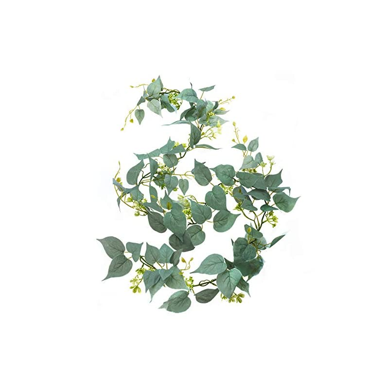 silk flower arrangements artificial greenery garland, fake vine with flowers, 6' long silk faux decorative hanging vine with green silver leaves and white flowers; flower garland for table wedding party home garden wall decor