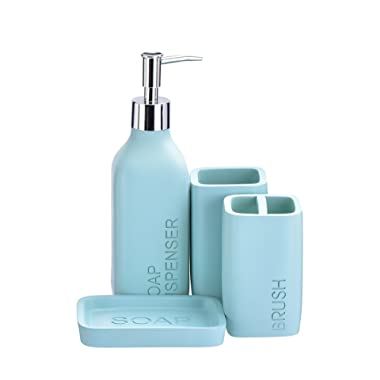 iMucci Blue 4PCS Bathroom Accessories Set - Toothbrush Holder and Soap Dispenser Soap and Lotion Set Tumbler Cup