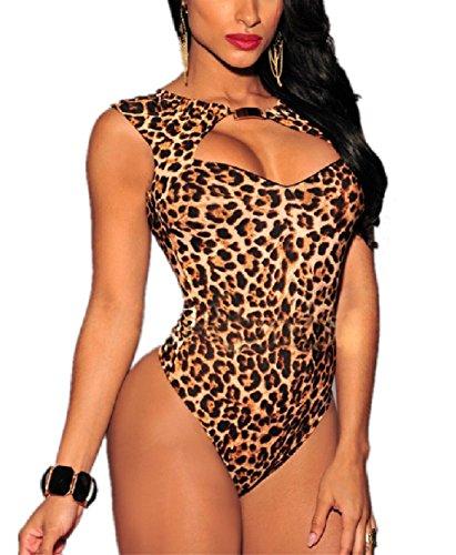 Mrsdressshop Leopard Print Backless Jumpsuit Sliming Sexy Lingerie (xl)