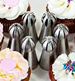 Russian Sphere Icing Nozzles and Ball Piping Tips. 8 pc Set for Decorating Cupcakes and Pastries