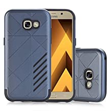 MOONCASE Galaxy A5 2017 Case Hybrid Armor Tough Rugged [Anti Scratch] Dual Layer TPU +PC Frame Protective Case Cover for Samsung Galaxy A5 2017 Navy