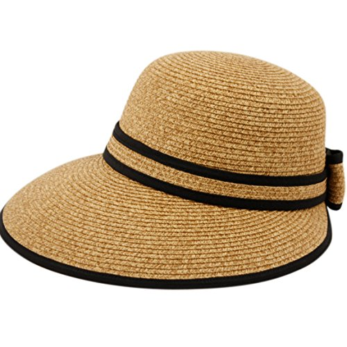 Straw Packable Sun Hat with Black Sash- Wide Front Brim (Classic Hooded Hat)