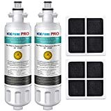ICEPURE PRO NSF 53&42 Certified LT700P Refrigerator Water Filter and LT120F Air Filter, Compatible with LG LT700P, ADQ36006101, ADQ36006102, KENMORE 46-9690 Combo, RWF1200A, Advanced [2 Pack]
