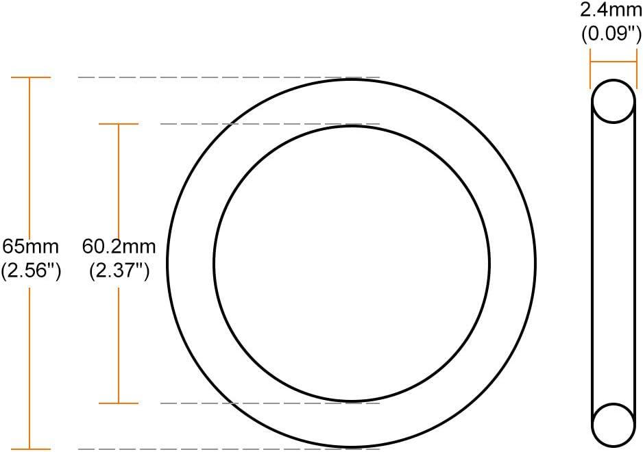 sourcing map Fluor Caoutchouc Joints Toriques 65mm OD 60.2mm Diam/ètre Int/érieur 2.4mm Largeur Joint /étanch/éit/é Vert 5Pcs