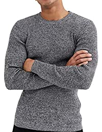 Mens Sweaters Pullovers, Soft Cotton Lightweight Pullover Top Long Sleeve Crew Neck Slim Sweater