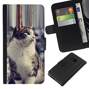 eJoy---La carpeta del tirón la caja de cuero de alta calidad de la PU Caso protector - HTC One M9 - --Mongrel Mutt Shorthair Pet Snow Cat