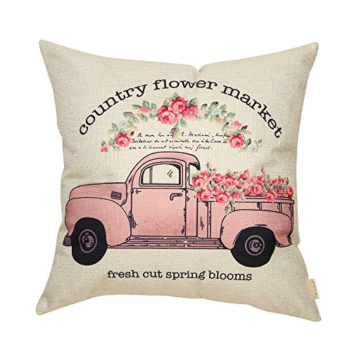 Fahrendom Country Flower Market Vintage Pink Truck Farmhouse Décor Fresh Cut Spring Blooms Sign Summer Decoration Cotton Linen Home Decorative Throw Pillow Case Cushion Cover for Sofa Couch 18 x 18 in
