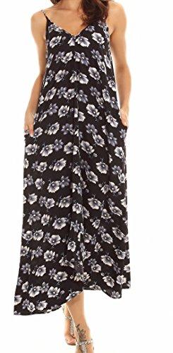 black VIISHOW flower Pocket V Polka Lady Dress Cocktail Maxi Neck Casual Beachwear Dot Long Boho OSrqOU6
