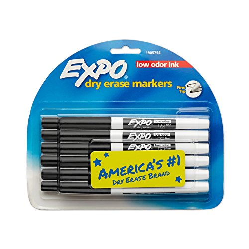 Expo Low-Odor Dry Erase Markers Fine Point 12-Pack Black