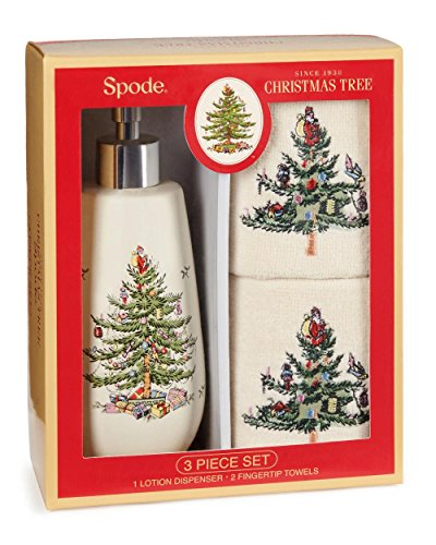 Spode Christmas Tree Lotion / Hand Soap Dispenser & 2 Fingertip Guest Towels, Gift Boxed Set