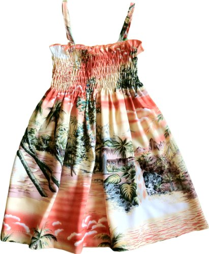 Dress Hawaiian Girl Spaghetti (RJC Baby Girl's Paradise Island Surf Smocked Hawaiian Sundress Orange - 3T)
