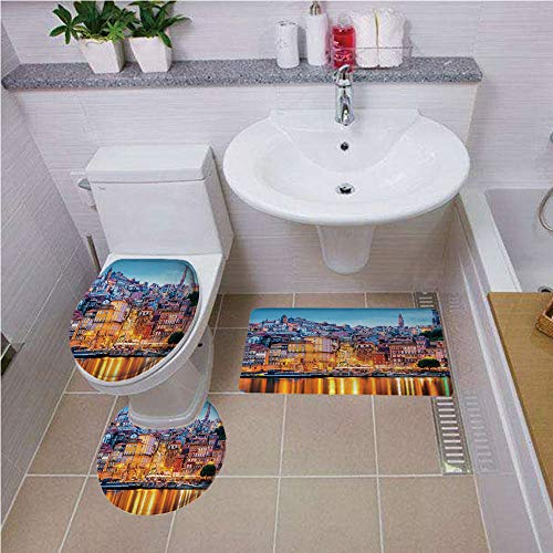 iPrint Bath Rug Set,European,Old City of Frankfurt Germany with Historical Buildings Statue Cityscape Scenery Decorative,Multicolor,Non-Slip Soft Absorbent Bath Rug