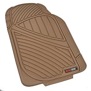 Motor Trend FlexTough Baseline - Heavy Duty Rubber Car Floor Mats, 100% Odorless & BPA Free, All Weather (Tan Beige)