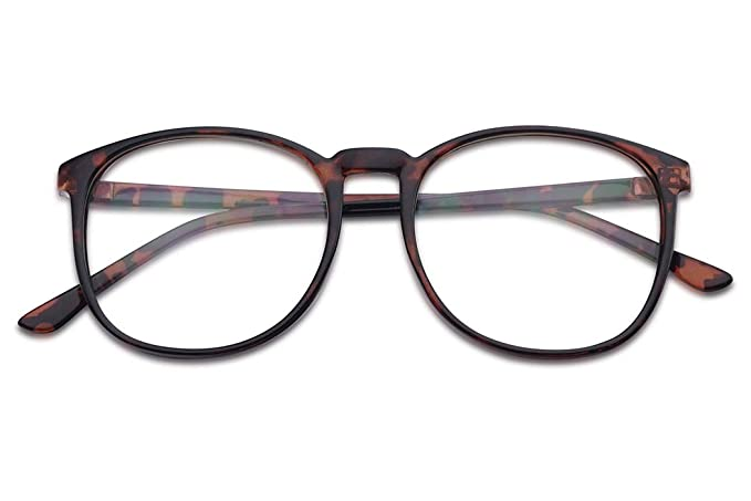 b0738dc7e19 Amazon.com  Classic Non Prescription Clear Lens Eye Glasses For Men Women  Round Tortoise Frame with Clear 100% UV PC Lenses (Tortoise Frame