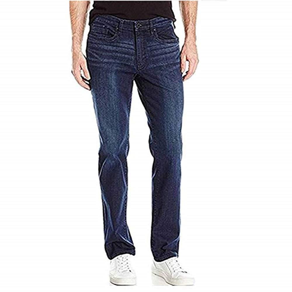 William Rast Mens Straight Dimension Flex MID Rise Jeans 34x32, Memphis Blue