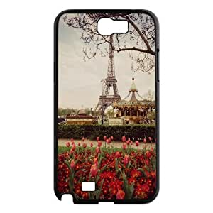 Samsung Galaxy Note 2 Cases Tulips and the Eiffel Tower Paris in the Springtime, Samsung Galaxy Note 2 Cases Ediffel Tower Cheap for Girls, [Black]