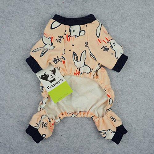 Fitwarm Pink Bunny Cotton Dog Pajamas Pet Clothes Shirts PJS Jumpsuit XXL by Fitwarm (Image #4)
