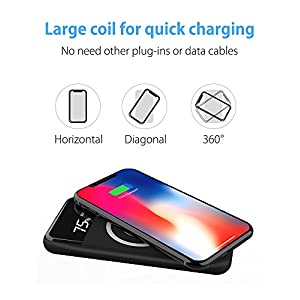 Qi Wireless Portable Charger, Hokonui 10000mAh Fast Charging Power Bank with LED Digital Display External Battery Pack 2 in 1 for iPhone X, iPhone 8, 8 Plus, iPad, Samsung Galaxy S8, S8 Plus