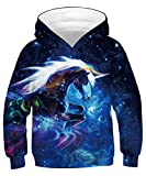 KIDVOVOU Unicorn Teen Boys Girls Big Boys Girls Hoodie 4-16T,3D Galaxy Unicorn,6-8 Years