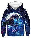 GLUDEAR Unisex Galaxy Pockets 3D Pullover Hoodie Hooded Sweatshirts for Boys Girls,Galaxy Unicorn,11-13 Years