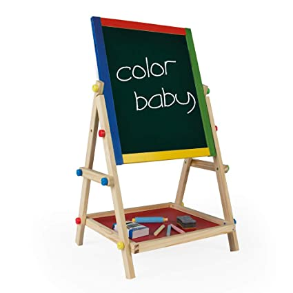 ColorBaby 43688 Play & Learn - Pizarra Doble con Caballete de Madera, Multicolor, 40 x 36.5 x 68 cm