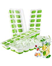 Ice Cube Trays 4 Pack Easy Release Ice Trays BPA Free, 14-Ice Trays with Lid, Stackable Silicone Ice Cube Tray, Suitable for Frozen Drinks, Coffee, Baby Food and Fruit (Green)