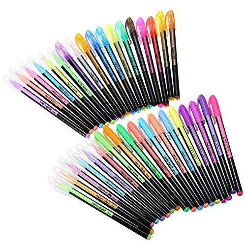 36 Colors Gel Pen Adult Coloring Book Ink Pens Drawing Painting School Supplies - Stationery Supplies Pens & Writing Supplies - 1 x 36 pcs Colors Gel Pens