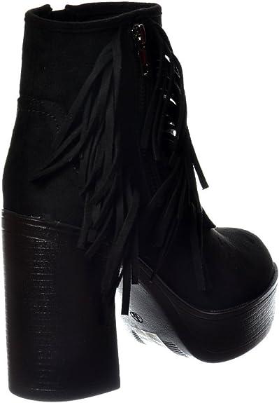 Details about  /Winter Autumn Suede Fabric Tassel Fringe Ankle Boots Block Heel Women/'s Shoes D