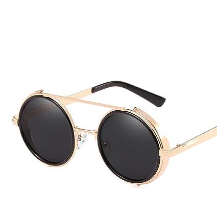 Aoligei L'Europe et les États-Unis rond cadre lunettes de soleil rétro windproof générales miroir marée de lunettes de soleil métal Dame lunettes de soleil M ALE MUfKi