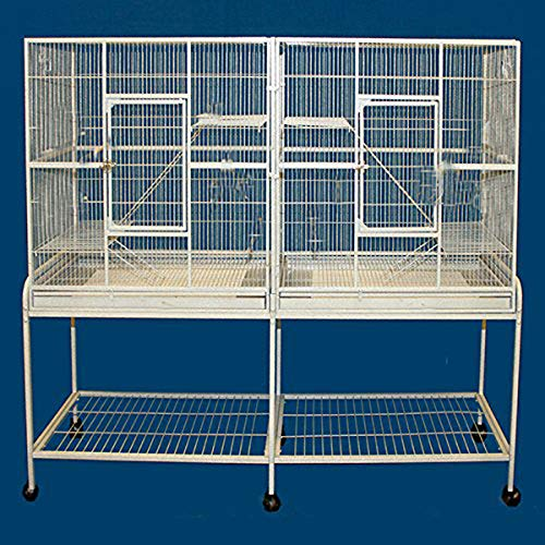 Mcage New Large Wrought Iron Double Cage w/Slide Out Divider 3 Levels Ferret Chinchilla Sugar Glider Cage 63″ Length x 19″ Depth x 64″ Height W/Stand on Wheels