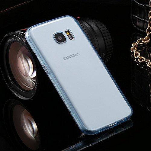 Funda tapa trasera para Samsung Galaxy S7, Vandot Funda 360 Doble Delantera + Trasera Transparente Silicona Gel Integral para Galaxy S7, Two Cristal Crystal Centelleo Cover Funda Caja del TPU Silicona Transparent-Blue